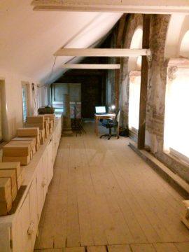 """Ein """"himmlischer Arbeitsplatz"""" in der oberen (nicht öffentlich zugänglichen) Etage des Westwerks Corvey, Foto: Deborah Zarnke"""