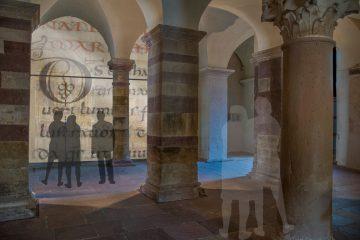 Welterbe Westwerk Corvey ·Visualisierung der Glastrennwand für die geplante Multimedia-Installation