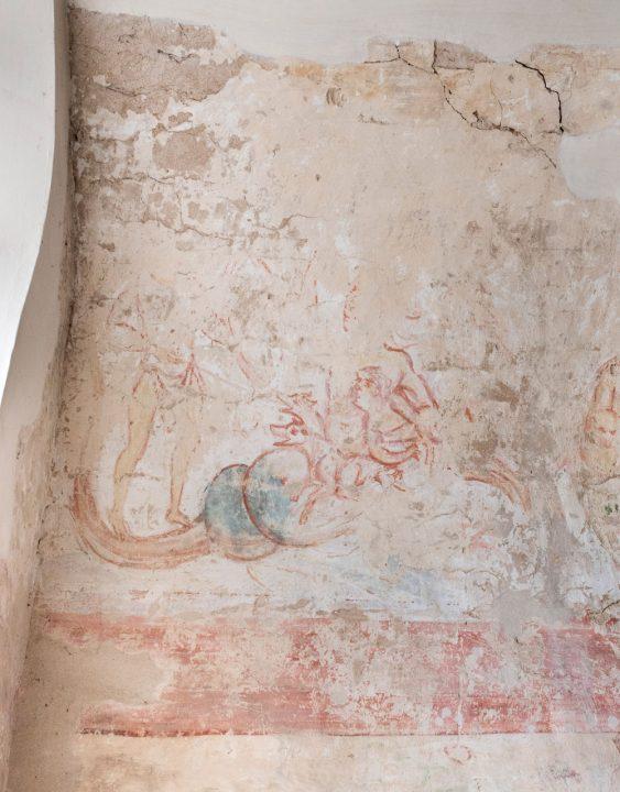 Welterbe Westwerk Corvey · Karolingische Wandmalerei im Johannsichor Odysseus und Skylla